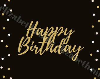 a black and gold birthday card print