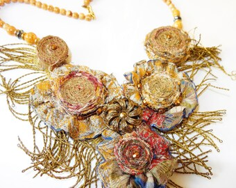 mother of Brocade fabric and metallic braid necklace
