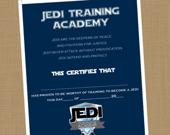 jedi training academy certificate printable certificate instant download - Jedi Knight Certificate Template
