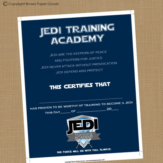 Jedi training academy certificate printable certificate yadclub Image collections