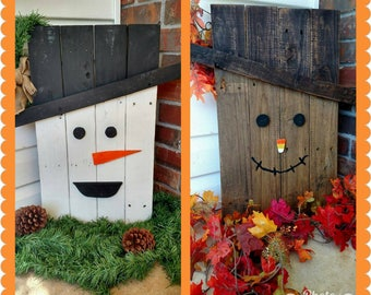 Reversible Scarecrow/Snowman Decoration - Fall Scarecrow Decor - Christmas Snowman Decor - Scarecrow and Snowman Wood Sign