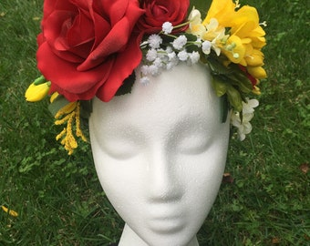 Red and yellow flower tiara