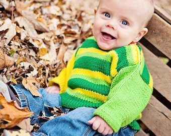 Hand Knit Baby Sweater, Unisex -- KLINGLE ROAD -- Green and Yellow Striped -- Perfect for Baby Showers -- Childrens Clothing