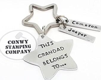 Grandad Star Personalised Gift. This Grandad Belongs To...Personalised Hand Stamped Keyring