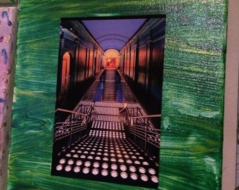 One of a kind 8x10 painted canvas with 4x6  nyc club