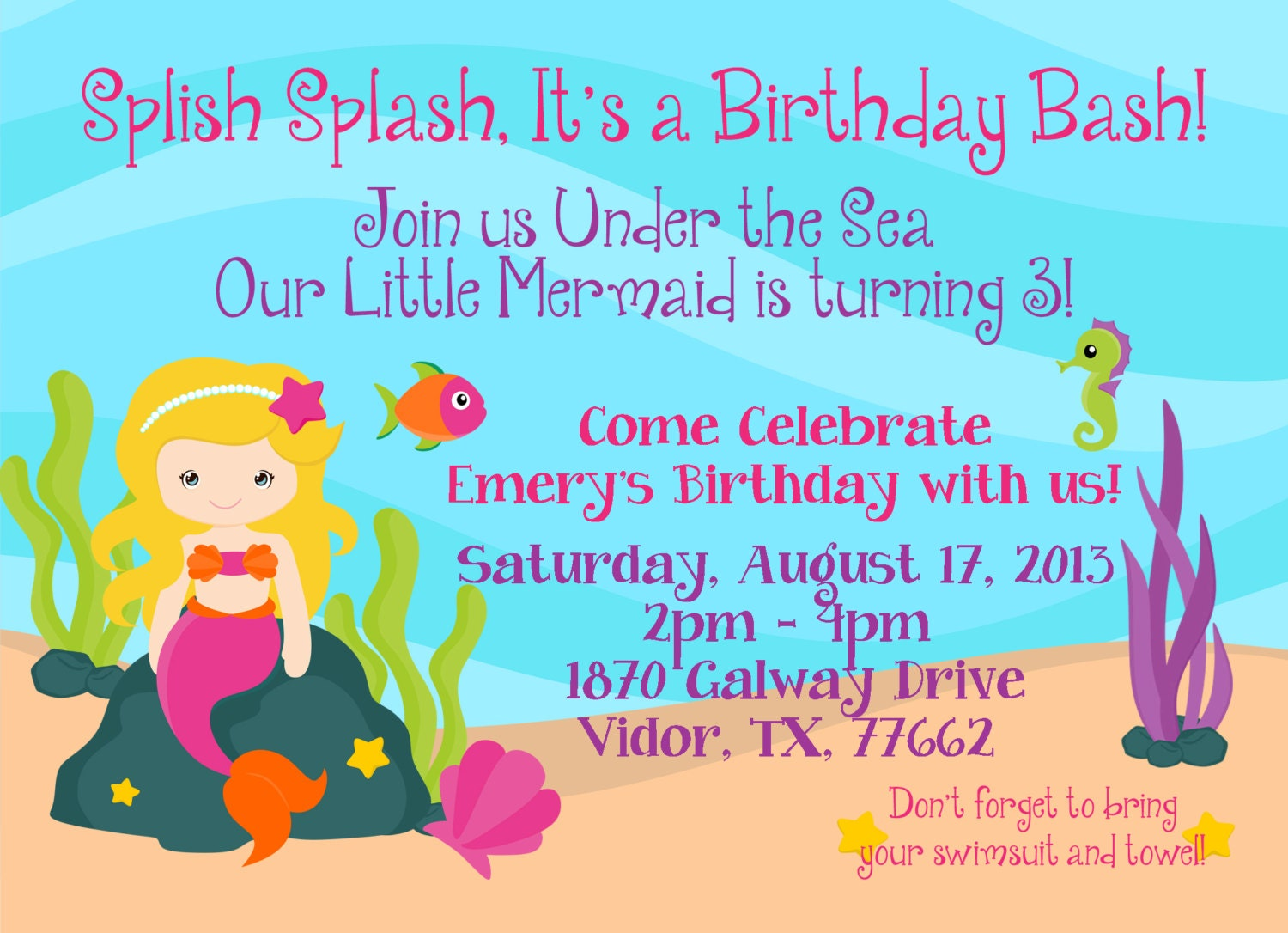 Mermaid Custom Invitation Pool Party for Girl Splish Splash