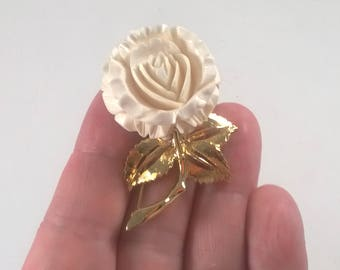 Vintage D'Orlan Rose Flower Brooch - Cream and Gold Floral Pin  - Retro Jewelry Pin