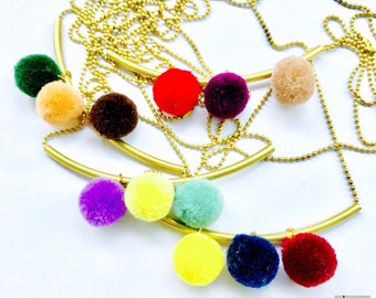 BOHO-long brass chain with brass bow and colorful pom Poms-Unique