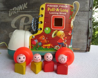 Vintage 1970 Fisher Price Lacing Shoe Pull A Long Toy With Little People