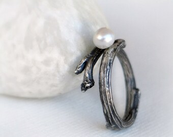 Branch Sterling Silver Oxidized Ring with Freshwater Pearl