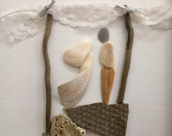 Unique Outer Banks wedding gift engagement anniversary husband wife mixed media seashell pebble art couple I have found Beach House Dreams