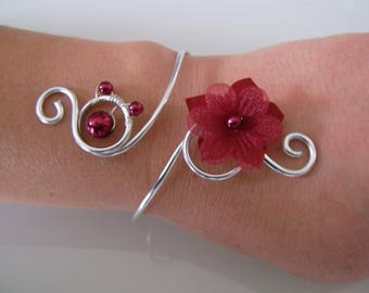 Burgundy/Red/silver plated bracelet, aluminum p dress bridal/wedding/party/ceremony/cocktail flower/bead (cheap)