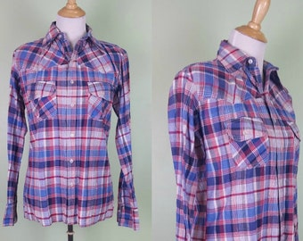 1970s Indian Cotton Button Front Western Oxford - Americana Plaid - Medium / Large