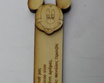 Wood Bookmark Invitation - Mickey
