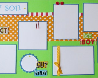 Premade 12x12 Scrapbook Pages - boy scrapbook layout -- MY SON -- my boy ~ I love you, baby boy, teenager, toddler, kid, father, mother