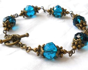peacock blue victorian bracelet blue beaded bracelet peacock blue  jewelry victorian jewelry beaded jewelry