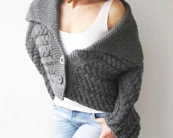 Dark Gray Cable Knit Cardigan by Afra