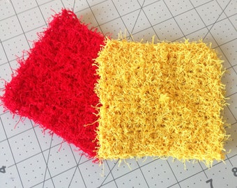 Crochet dish scrubbies in red and yellow