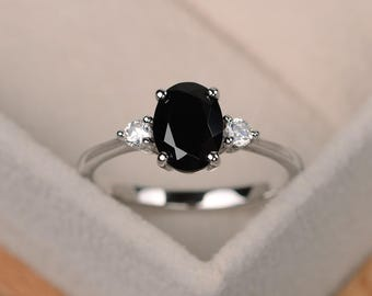 Black spinel ring, Oval shaped engagement ring, black gemstone ring, sterling silver ring