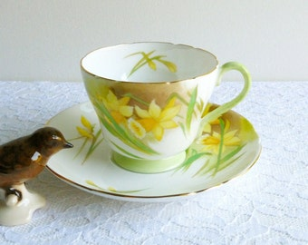Vintage Shelley #13677 Jonquil Footed Teacup & Saucer, Bone China, Made in England. Perfect for a Vintage Tea Party, Gift or Styling Prop