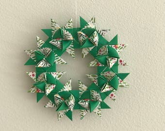 Moravian Star Wreath—Spring Green & Floral
