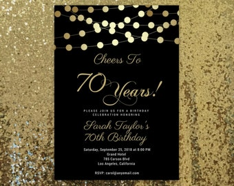 Cheers to 70 years Invitations, 70th Birthday Invitations, ANY AGE, Cheers to 70, Adult birthday Invitations, Surprise Birthday Invitation