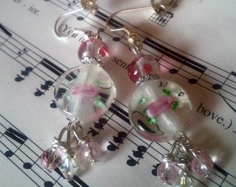 Spring Roses Earrings;crystalroseearrings;rosejewelry;roselampworkearrings;pinkroseearrings;pinkcrystalearring;springroseearring;pinkearring