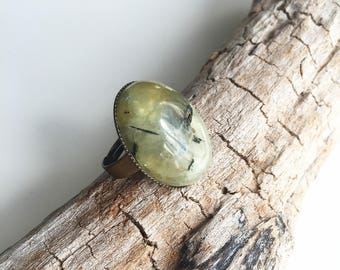 Brass, prehnite gemstone ring