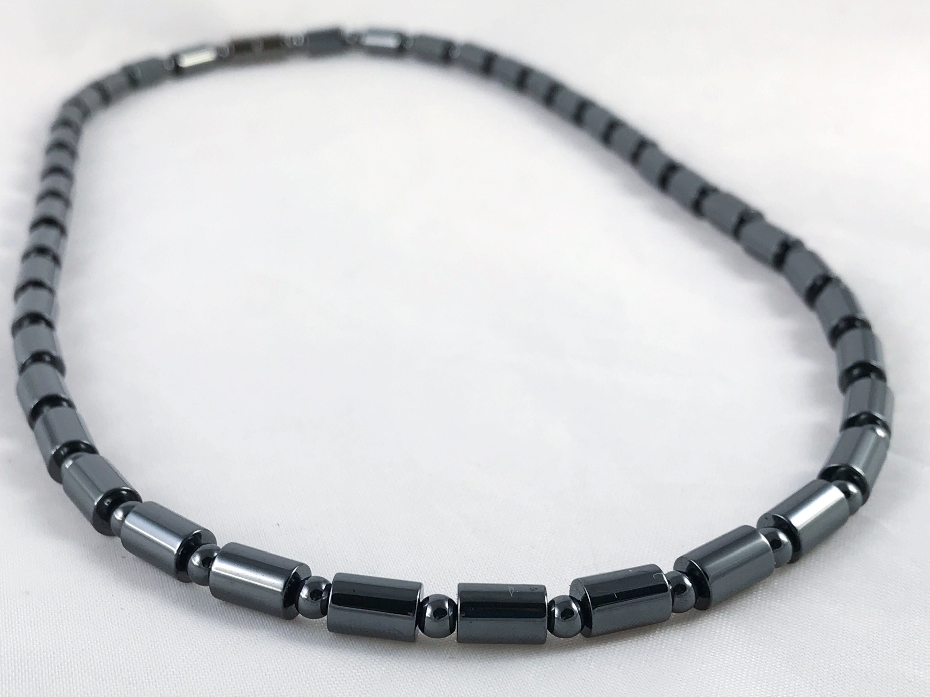 necklace fullxfull listing smooth jewellery beads women hematite sized unisex magnetic custom mtoi il jewelry cylinder s men