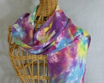 "Silk Scarf (Small) ""Rainbow Gala"", Hand Painted Silk Scarf"