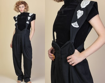 Vintage Pinafore Jumpsuit | 80s Crochet Suspender Overall Pants Black and White - Medium to Large