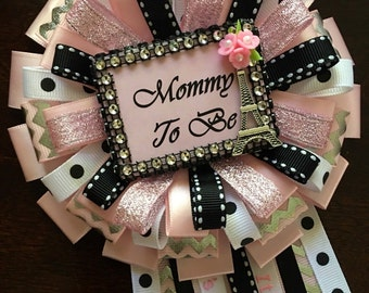 Eiffel Tower mommy to be corsage- paris Mommy to be pin- baby shower corsage- paris baby shower