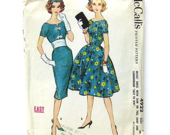 1950s Vintage Sewing Pattern / Pencil Skirt Dress / Wiggle Dress / Full Skirt / Short Sleeve Dress / Day Dress / McCall's 4922 / Size 14