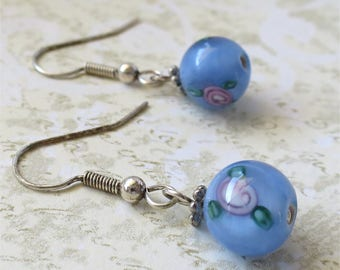 Earrings pale blue round czech glass beads with rose classic