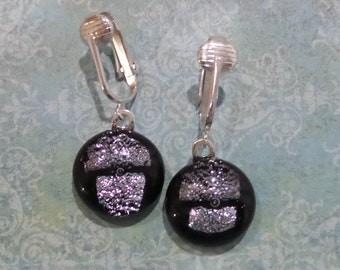 Dangle Clip Earrings, Black and Silver Dichroic, Dangle Clip On Earrings, Dichroic Fused Glass Jewelry, Ready to Ship - Silver Bells -6