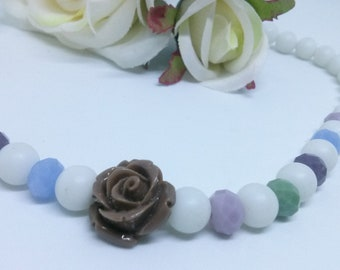 Colorful necklace, romantic, summer, acrylic rose