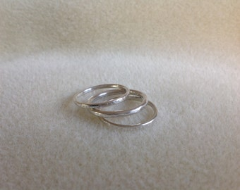 Sterling silver triple stacking rings