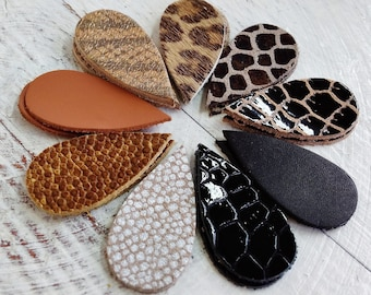 9 pairs Leather Teardrops Die Cut,  Genuine Leather, Embossed Patterns Leather