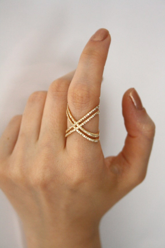 14k Gold X Ring with Cz Stones / Engagement Ring / Criss Cross
