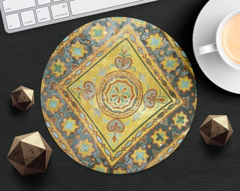 Mouse Pad Old Portugal Tile Mousepad Yellow Mouse Mat Azulejos Mouse Pad Office Mousemat Rectangular Mousemat Portuguese Mouse Pad Round