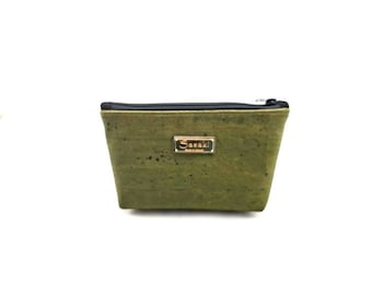 """9"""" x 5"""" - Mossy Green Cork Gadget Bag - zipper pouch - Bag organizer"""