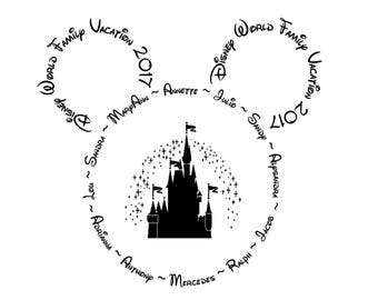 Disney World/Land 'Family Vacation *ANY YEAR* Black And White - PERSONALISED Iron On T-Shirt Transfer