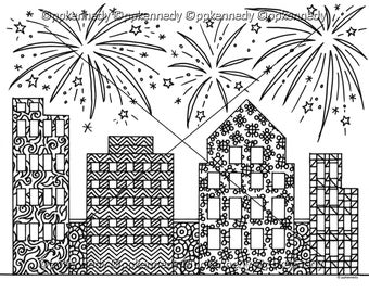 New Year's Fireworks Zentangle Coloring Page