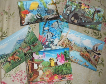 Set of six Vintage 3D Postcards - Nature and Kids