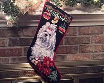 Maltese Dog Stocking, Christmas stocking, Dog stocking, Maltese Personalized Christmas stockings, Maltese needlepoint Christmas stocking