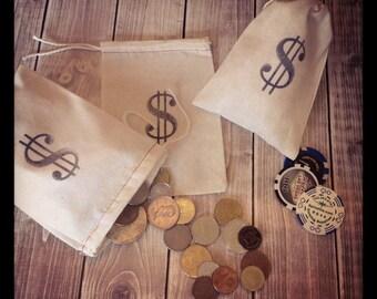 10 Geld Beutel Musselin zeichnen Zeichenfolge Säcke für Gefälligkeiten Casino Partynacht Monopol, Las Vegas-Stoff-Stoff-Taschen