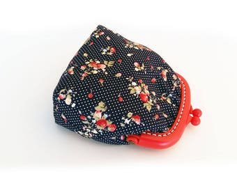 Small Pouch, Small Fabric Coin Purse, Red and Blue Money Pouch, Jelly Clip Purse Frames, Jelly Clips Coin Purse Frame