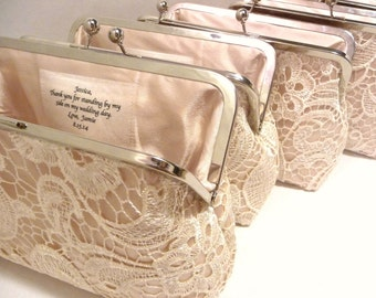 Set of 4 Champagne Lace Bridesmaid Clutches, Satin Personalized Lace Clutch, Wedding Clutch Set, Lace Gift Set, Eight inch Frame