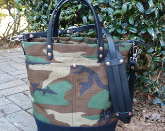 Monogrammed Waxed Canvas Tote Bag with Leather Handles/Shoulder Strap/Zipper Closure - Large Camo & Black Color Blocked Tote