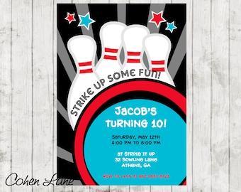 Bowling Party Invitation.  Bowling Invitation.  Bowling Birthday Invite.  Bowling Invite.  Digital Invitation.